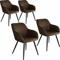 4 Marilyn Fabric Chairs - dark brown/black
