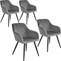 4 Marilyn Velvet-Look Chairs - grey/black