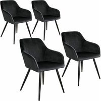 4 Marilyn Velvet-Look Chairs - black - TECTAKE