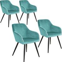 4 Marilyn Velvet-Look Chairs - turquoise/black