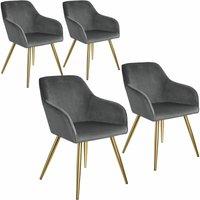 4 Marilyn Velvet-Look Chairs gold - dark gray/gold