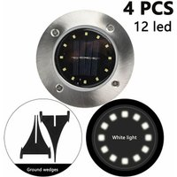 4 Pack Solar Disk Lights 12 LED Solar Ground Lights Outdoor Waterproof Stainless Steel in Ground Solar Lights for Walkway Pathway Lawn Patio Yard