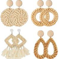 4 Pairs Rattan Earrings Lightweight Geometric Statement Tassel Woven Bohemian Earrings Handmade Straw Wicker Braid Hoop Drop Dangle Earrings For