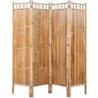 Zqyrlar - 4-Panel Bamboo Room Divider - Brown