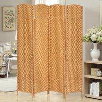 4 Panel Floor Standing Room Divider Folding Screen, Light Brown - LIVINGANDHOME