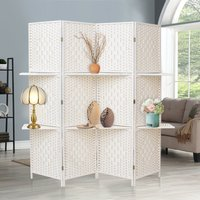 4 Panel Folding Room Divider Privacy Separator Screen with Shelf, White