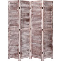 4-Panel Room Divider Brown 140x165 cm Wood