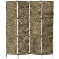 Zqyrlar - 4-Panel Room Divider Brown 154x160 cm Water Hyacinth - Brown