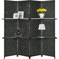 4 Panel Room Divider Folding Privacy Screen with 2 Removable Display Shelves