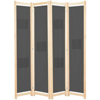4-Panel Room Divider Grey 160x170x4 cm Fabric - YOUTHUP