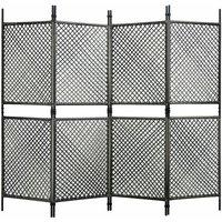 4-Panel Room Divider Poly Rattan Anthracite 240x200 cm - Anthracite - Vidaxl