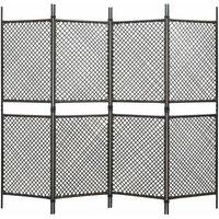 4-Panel Room Divider Poly Rattan Brown 240x200 cm