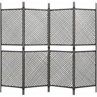 Zqyrlar - 4-Panel Room Divider Poly Rattan Brown 240x200 cm - Brown