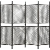 4-Panel Room Divider Poly Rattan Brown 240x200 cm - VIDAXL