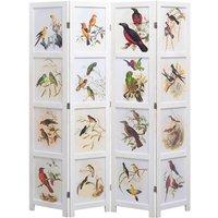 Youthup - 4-Panel Room Divider White 140x165 cm Bird