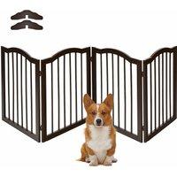 4 Panels Folding Pet Dog Gate Fence Child Safety Barrier Freestanding Pine Wood