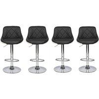 4 pcs adjustable height bar stool 360°leather rotating bar stool counter kitchen Black - Black