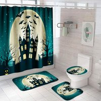 Bearsu - 4 Pcs Halloween Shower Curtain Sets with Non-Slip Rug,Toilet Lid Cover,Bath Mat,12 Hooks,Castle Waterproof Shower Curtains with Rug Set for
