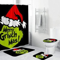 Bearsu - 4 Pcs The Gri-NCH MOV-ie Chris-tmas Shower Curtain Set with Non-Slip Rugs,Toilet Lid Cover and Bath Mat,Nightmare Before Christmas Shower