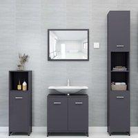 Betterlifegb - 4 Piece Bathroom Furniture Set Grey Chipboard20143-Serial number