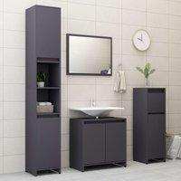 Betterlifegb - 4 Piece Bathroom Furniture Set Grey Chipboard20152-Serial number