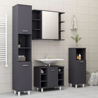 Betterlifegb - 4 Piece Bathroom Furniture Set Grey Chipboard20157-Serial number