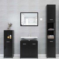 Betterlifegb - 4 Piece Bathroom Furniture Set High Gloss Black Chipboard20148-Serial number