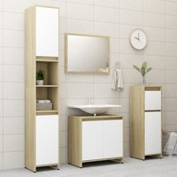 Betterlifegb - 4 Piece Bathroom Furniture Set White and Sonoma Oak Chipboard20154-Serial number