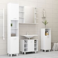 Betterlifegb - 4 Piece Bathroom Furniture Set White Chipboard20156-Serial number