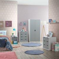 Timber Art Design Uk - 4 Piece Bedroom Furniture Set Wardrobe Chest Drawers Bedside White and Grey