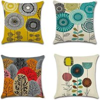 4 Piece Cotton Linen Cushion Covers, Square Pillow Case, Decorative Pillow Set, Abstract Flowers Pattern Pillow Case, for Living Room, Bedroom, Sofa,
