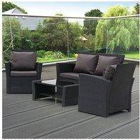 4-Piece Garden Rattan Sofa Set Combination Dark Gray Cushion with Coffee table-Black - Black