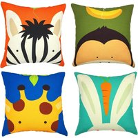 4 Pieces Cotton and Linen Print Childrens Cartoon Zebra Rabbit Monkey Giraffe Square Cushion Cover Suitable for Bed Car Home Sofa 45x45cm