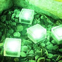 4 Pieces Ice Brick Light, IP68 Waterproof Ice Rock, LED Night Light, Built-in Solar Buried Crystal Landscape Light, Used for Decorating Yard Paths,