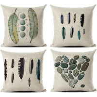 4 Pieces of Animal and Plant Cushion Cover Tree of Life Pattern Sofa Pillow Case Home Living Room Interior Bedroom, 45x45cm, (feather 1)