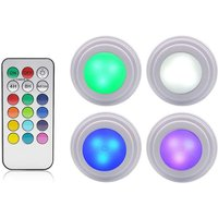 4 pieces of cabinet lighting light led remote control wireless brightness adjustable LED for washing machine cabinet lighting remote control light