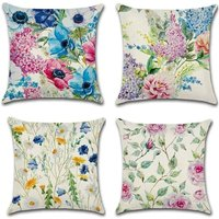 Perle Raregb - 4 Pieces of Floral Peony and Daisy Print Cotton Linen Square Cushion Cover, Fits Bed, Car and Home Sofa 45 x 45cm