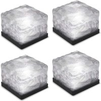 4 pieces of ice brick light, IP68 waterproof ice rock, LED night light, built-in solar buried crystal landscape light, used for decoration of