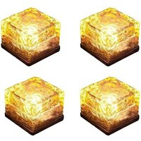 Perle Raregb - 4 pieces of ice brick light, IP68 waterproof ice rock, LED night light, built-in solar buried crystal landscape light, used for