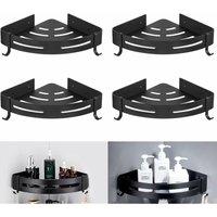 Betterlifegb - 4 Rooms Bathroom Tripod Bathroom Shelf Storage Holder Antirust Triangle Stylish Cart Simple Black Shelf