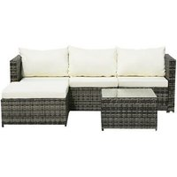 4-Seater Chaise Corner Sofa Gray Gradient Rattan Beige Cushion Rattan Three-Piece Set