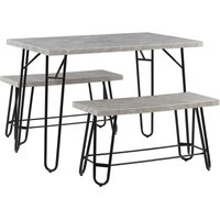 Dining Room Set Table 2 Benches 4 People Marble Veneer Grey and Black Kempton
