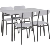 Beliani - Modern Dining Kitchen Set Table 4 Chairs Grey with Black Velden
