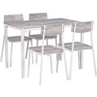 Beliani - Modern Dining Kitchen Set Table 4 Chairs Grey with White Bismarck