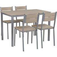 Beliani - Modern Dining Kitchen Set Table 4 Chairs Light Wood with Grey Blumberg