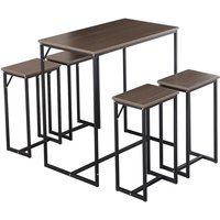 4 Seater Dining Table and Chair Set Steel Frame Retro Kitchen Dinette Dining Furniture -Woodyhome (Grey brown)