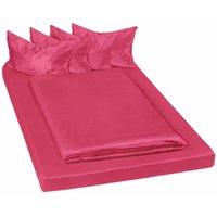 4 shiny satin bedding sets 200x150cм 6 PCs - bedding, bed linen, duvet cover - red - TECTAKE