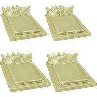 4 shiny satin bedding sets 200x150cм 6 PCs - bedding, bed linen, duvet cover - green - TECTAKE