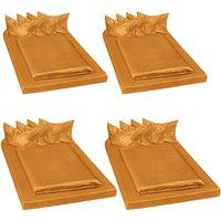 4 shiny satin bedding sets 200x150cм 6 PCs - bedding, bed linen, duvet cover - brown - TECTAKE
