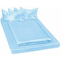 4 shiny satin bedding sets 200x150cм 6 PCs - bedding, bed linen, duvet cover - blue - TECTAKE